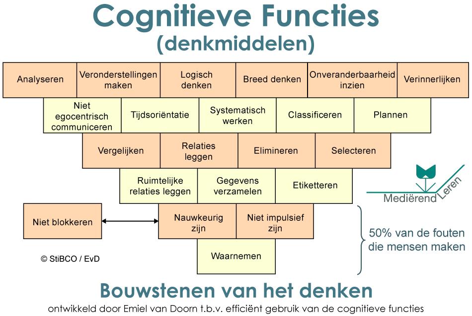 Grafische weergave van cognitieve functies als bouwstenen van het denken
