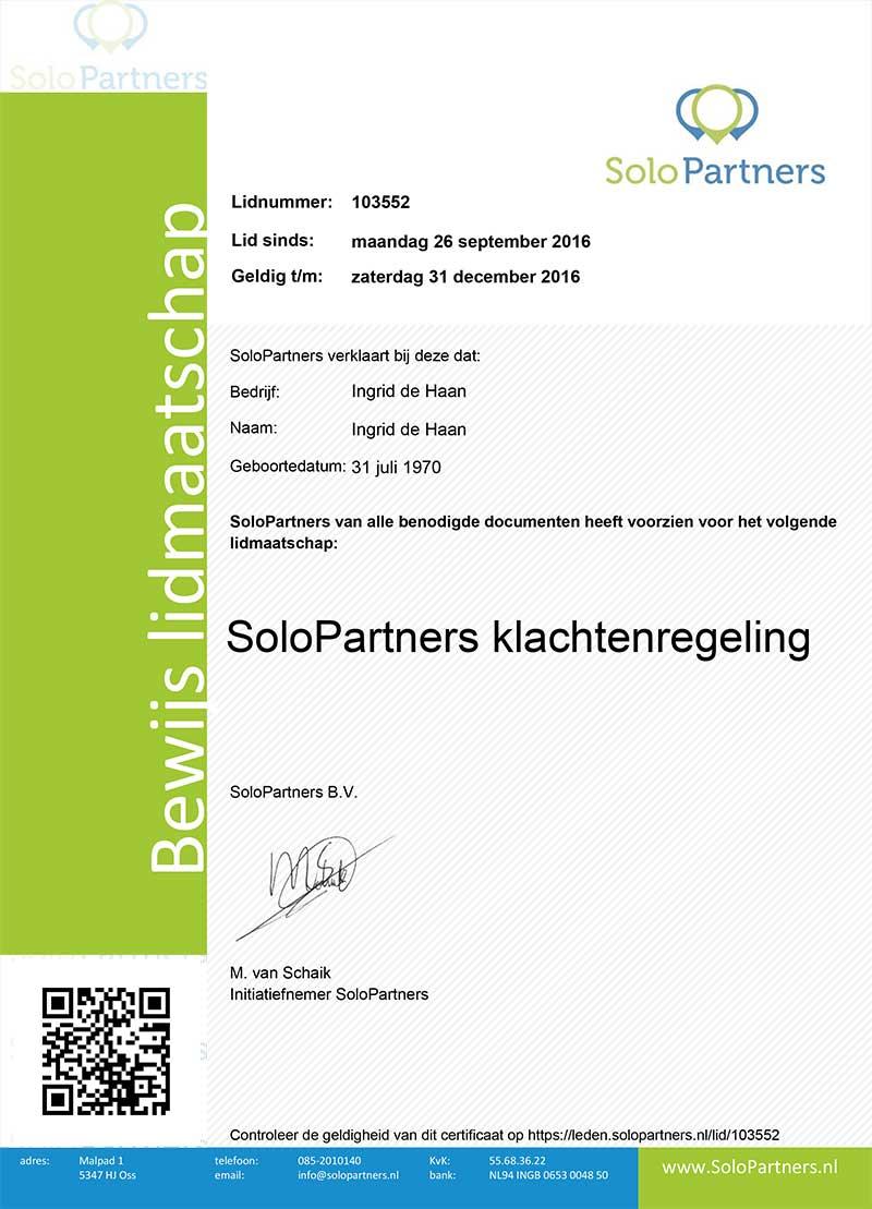 Bewijs lidmaatschap klachtenregeling Solo Partners